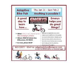 Adaptive Bike Fair at Emerys Milw. Visit the Magic Factory!